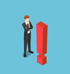 Isometric curious businessman standing with vector