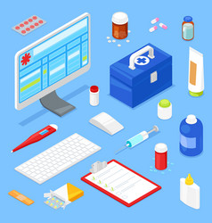 isometric medical equipment vector image