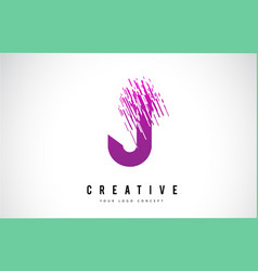 J letter logo design with purple colors vector