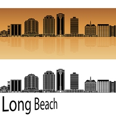 Long Beach V2 skyline in orange vector