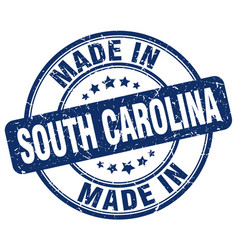 made in south carolina blue grunge round stamp vector image