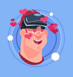 Man happy smiling male emoji wearing 3d virtual vector