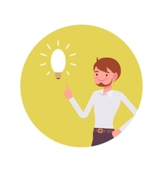 Man points to a lamp vector