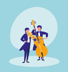 men playing cello avatar character vector image