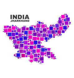 mosaic jharkhand state map of square elements vector image