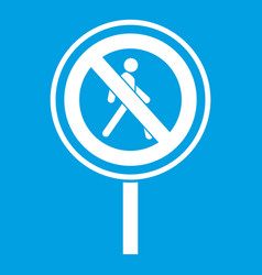 No pedestrian sign icon white vector