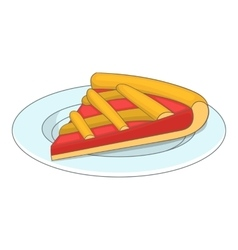 Piece of cake on a plate icon cartoon style vector image