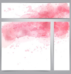 Pink watercolor abstract banners vector