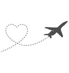 romantic icon travel heart and way airplane vector image