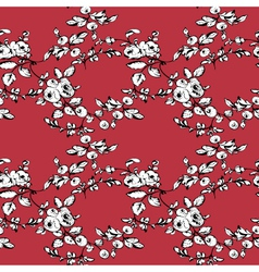Rose seamless pattern red black white vector