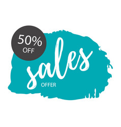 sale offer 50 off blue background sale banner vec vector image