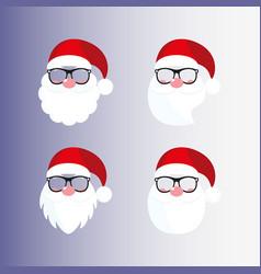 santa masks beard nose mustache hat glasses vector image