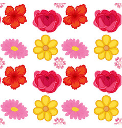 Seamless pattern tile cartoon with flowers vector