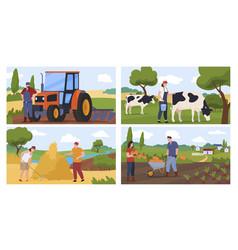 Set agricultural farmers flat vector