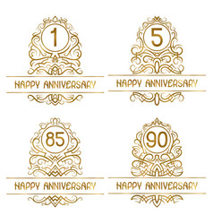 set golden anniversary vintage emblems for one vector image