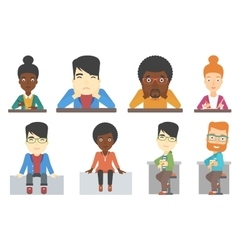 Set of bar customer and business characters vector