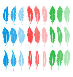 set of feathers design vector image
