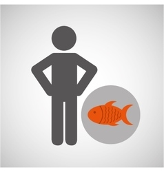 Silhouette man fish nutrition healthy vector