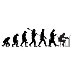 Silhouette of theory of evolution of man vector