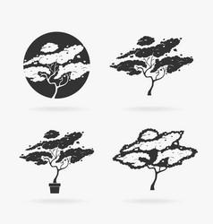 silhouette stencil tree vector image