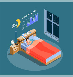 sleep analysis isometric composition vector image
