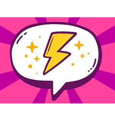 Speech bubble with icon of lightning on p vector