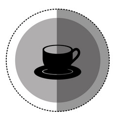 Sticker monochrome circular emblem with coffee cup vector