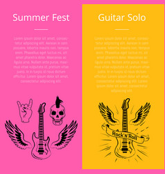 Summer fest and guitar solo collection of banners vector