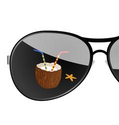 Sunglass with coconut art vector