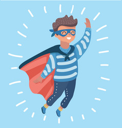 superhero boy waving hand vector image