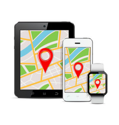 Tablet mobile phone and smart watch with gps map vector