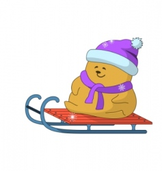 teddy bear on sledge vector image