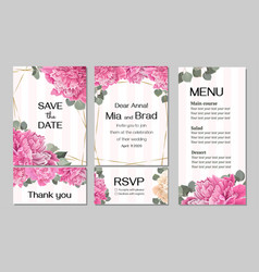 Template for wedding invitation peony flowers vector