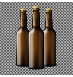 Three transparent brown realistic beer bottles vector image