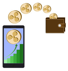 Transfer ripple coins from phone in the wallet vector