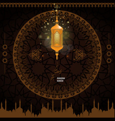 Trendy ramadan karem islamic greeting card vector