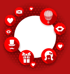valentines day card love red background flat vector image