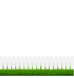 white fence with green grass and white background vector image