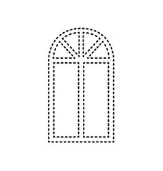 window simple sign black dashed icon on vector image