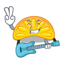 With guitar orange jelly candy mascot cartoon vector