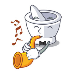 With trumpet mortar mascot cartoon style vector