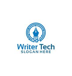 writer logo designs simple pen logo symbol vector image