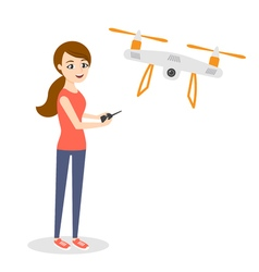 Young happy woman with quadrocopter or air drone vector