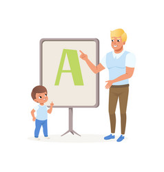 young teacher and little boy standing next to vector image