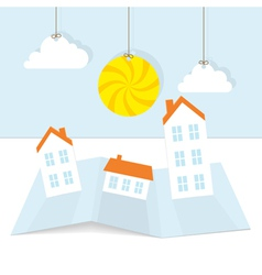 Abstract paper town with sun vector image vector image