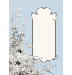 Art deco frame botanical composition vector