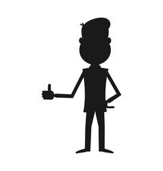Cartoon businessman silhouette vector