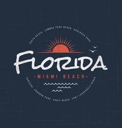 florida miami beach t-shirt and apparel design vector image vector image