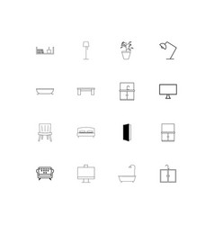 furniture simple linear icons set outlined icons vector image vector image