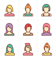 Icons Style Woman Icons Set Design vector image vector image